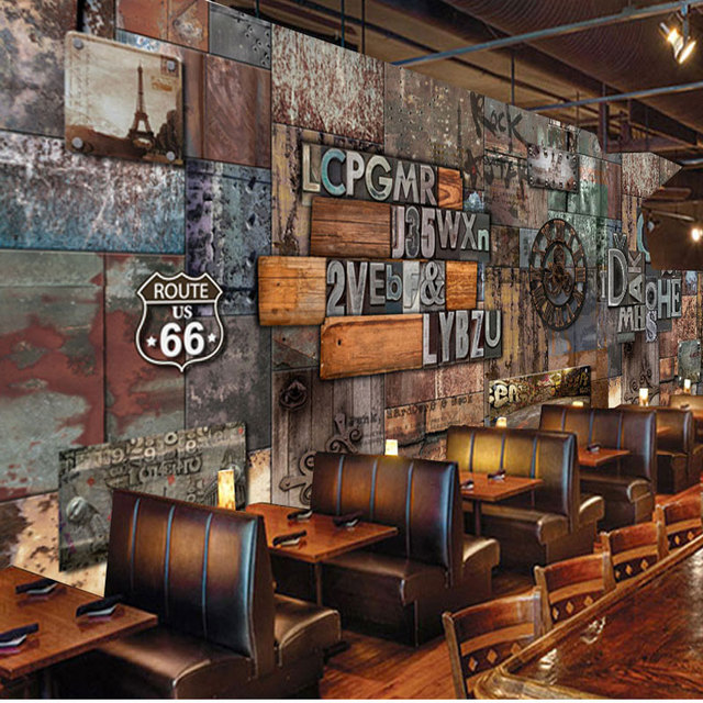 Bar Wallpaper: Home Bar Decor Wall Papers Vintage 3D Letter Photo