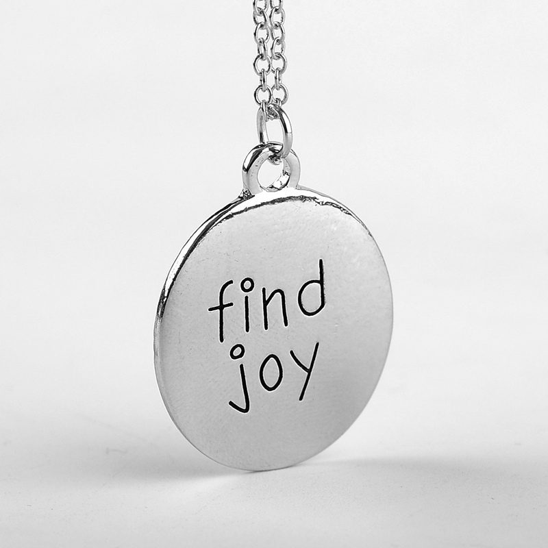 2016 saying motto jewelry letter find joy pendant necklace. Black Bedroom Furniture Sets. Home Design Ideas