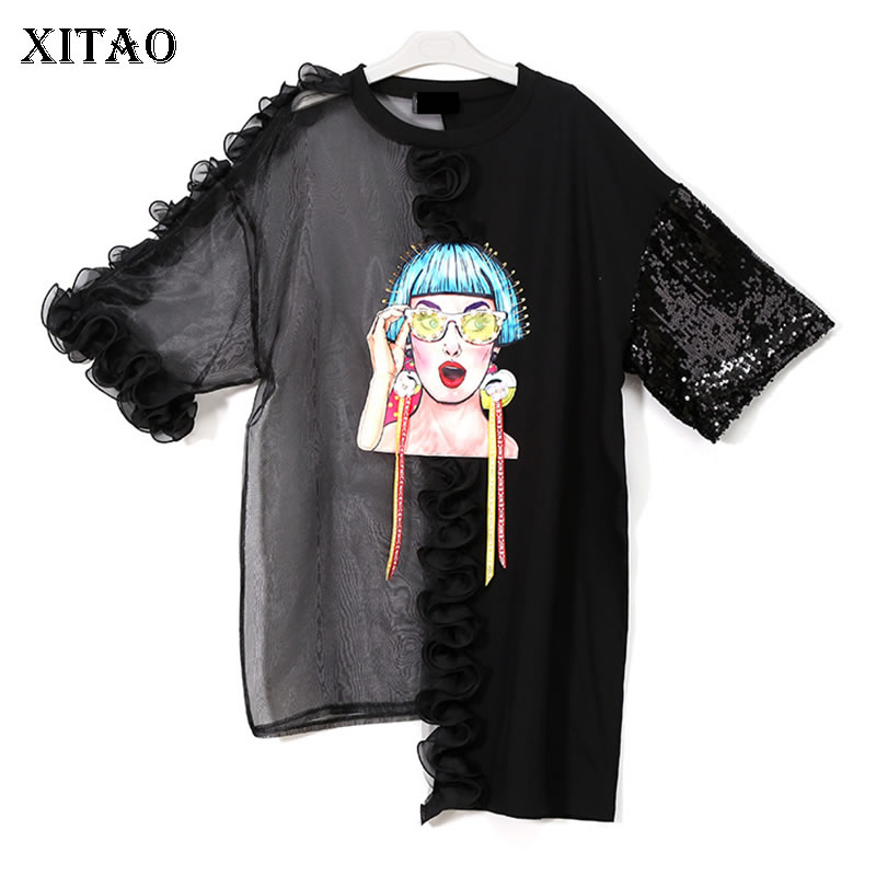 XITAO Sexy Sequin T Shirt Women Patchwork Perspective Mesh Ruffle Plus Size Pullover Tops Irregular 2019 New Summer KZH305