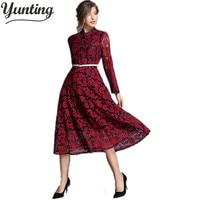 Hohe Qualität Frauen Europa stil Spitze Herbst Häkeln Casual Langarm Rot grün Kleid Kleidung
