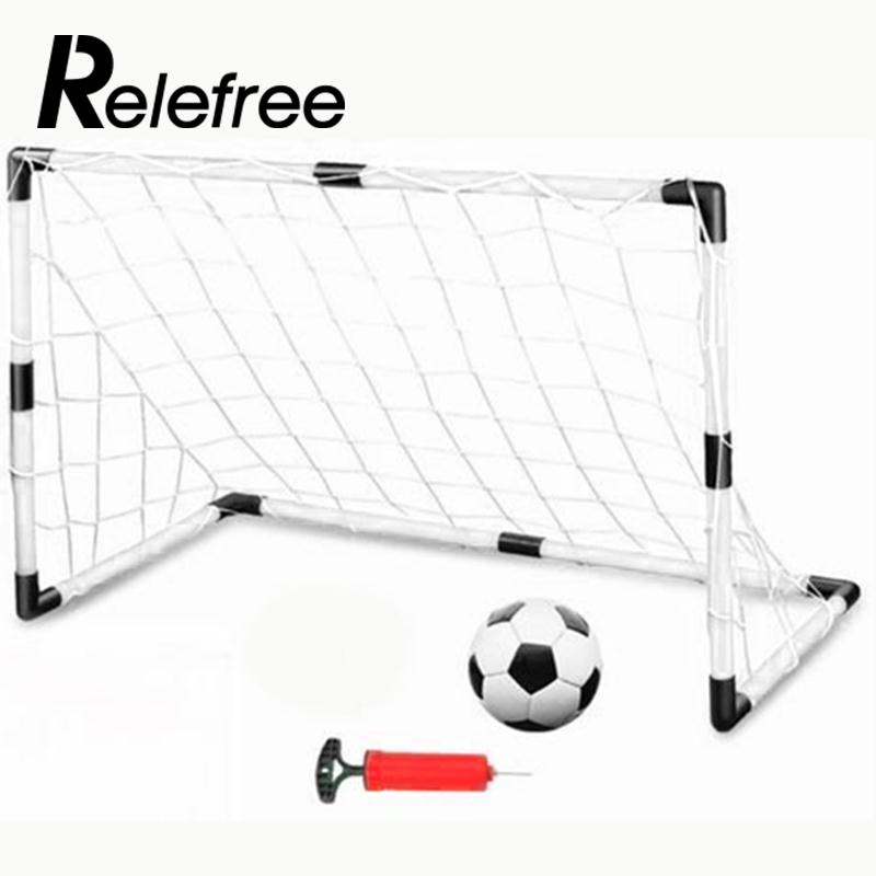 Relefree 2 Sets DIY White Children Sports Soccer Goals With Soccer Ball And Pump Practice Scrimmage Game Football Gate