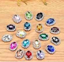 100pieces Multicolor oval rhinestone flatback glass buckle sew on bags/Christmas Garment decoration-can mix color