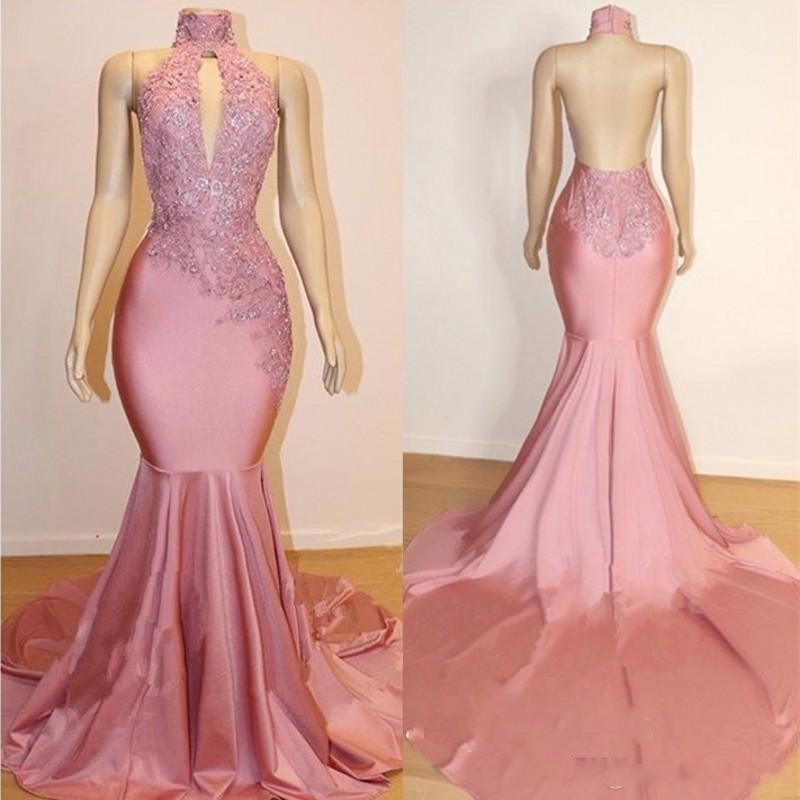 Pink Evening Dresses Custom Made Lace Appliques Mermaid Backless Formal Dresses Long Formal Gown Sweep Train vestido de festa