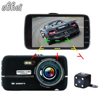 4 0 Car DVR Camera Dual Lens With LDWS ADAS Rear View Support Front Car Distance