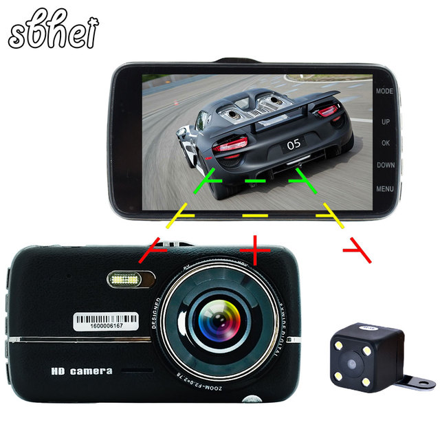 "sbhei 4.0"" Car DVR Camera Dual Lens with LDWS ADAS Rear view Support Front Car Distance warning Full HD 1080P car dvrs dashcam"