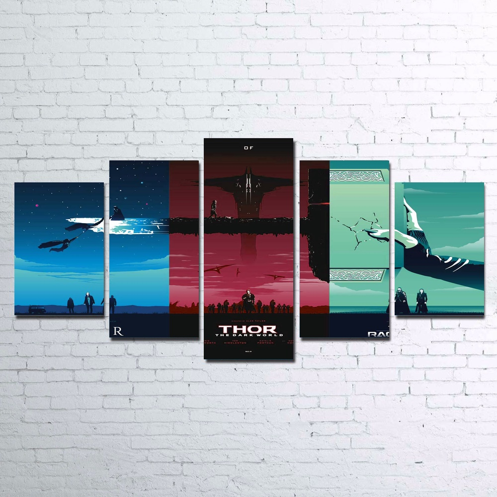 5 Piece Wall Art Canvas Painting Captain America Trilog Modular Art Picture For Living Room Decoration Print Pictures No Framed