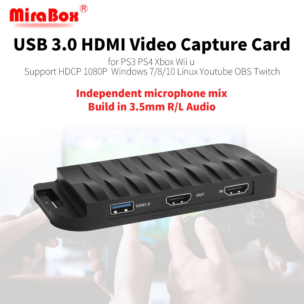 US $199 99 |MiraBox Capture Card, 4K 30FPS,HD 1080P 60FPS,USB3 0 HDMI Game  Video Capture Card with Mic Input and HDMI Passthrough-in USB Cables from