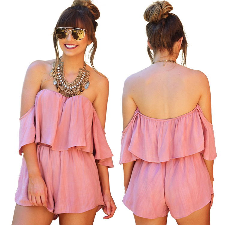 S-XL women ruffles slash neck playsuits straless short pant casual leisure playsuit summer holiday casual leisure playsuit