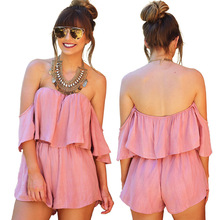 S-XL women ruffles slash neck playsuits straless short pant casual leisure playsuit summer holiday