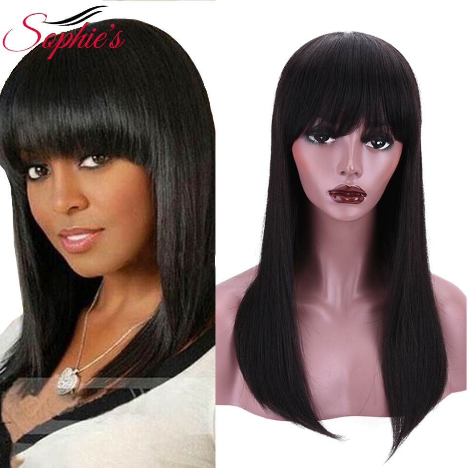 Sophie's 100% Human Hair Wig Brazilian Remy Hair Bob Wig With Bangs 18