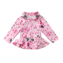 1-5T Fashion Newborn Kids Baby Girl Warm Autumn Coat Clothes Girls Outerwear Floral Zipper Coat Cotton Jacket Kids Coats(China)