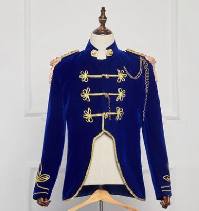 Nouveau européen bleu hommes court vêtements catwalk modèles hommes personnalité badges rétro costume balzers scène chanteur costumes