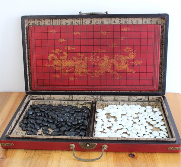 Go rétro Antique jeu d'échecs jeu Weiqi Set Portable planche pliante adulte enfants vont jeu d'échecs en bois bon cadeau