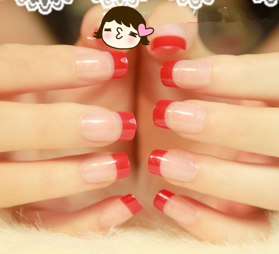 Red Color False Nail Art Tips French Acrylic Artificial