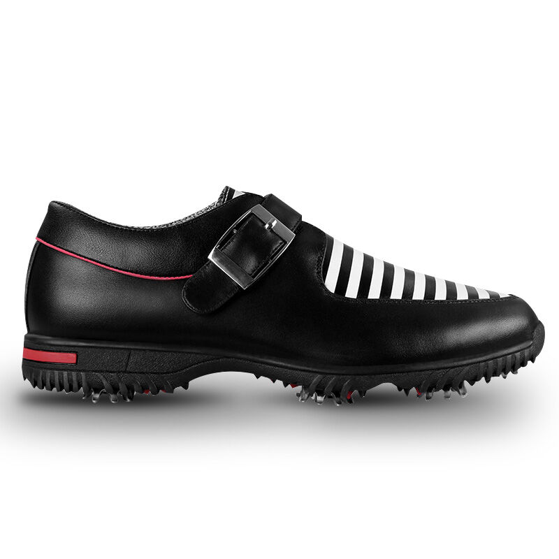 PGM Men's Golf Shoes Genuine Leather Sports Sneaker Shoes British Style Waterproof Breathable (Black) simulation mini golf course display toy set with golf club ball flag