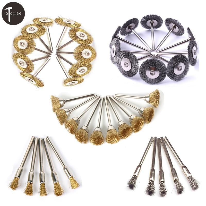 40Pcs Dremel Accessories Steel Brush Dremel Wire Wheel Brushes Rotary Tool Mini Drill Electric Burr Deburring Brushed Wheels Set