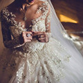 Vestido де noiva Бальное платье Свадебное Платье Турция Свадебные Платья Sposa Кружева Аппликации Из Бисера Длинные Рукава Свадебное Платье Свадебные Платья бода