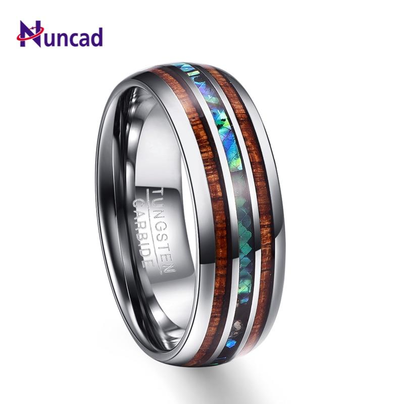 Nuncad 8mm Hawaiian Koa Wood and Abalone Shell Tungsten Carbide Rings Wedding Bands for Men Comfort
