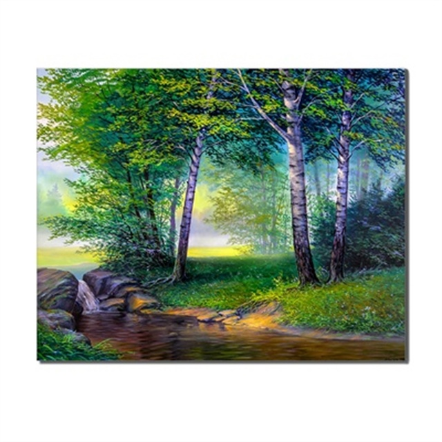 Summer Natural Landscape Forest Wall Artwork Poster Abstract Canvas Oil Painting For Wedding Home Decor Accessories No Frame
