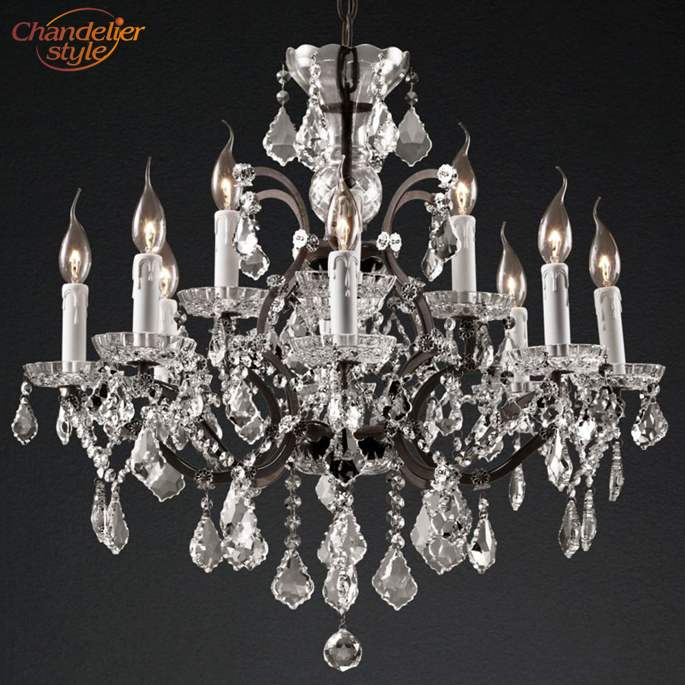 Image 4 - 19th C. Rococo Iron & Crystal Round Chandelier Lighting Modern LED Chandeliers Pendant Lamp Hanging Light for Living Dining Room-in Chandeliers from Lights & Lighting