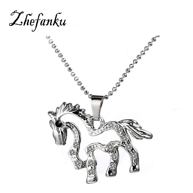 Charming font b Jewelry b font Accessories Korean Version HORSE Shaped Pendant Necklace Drop Shipping