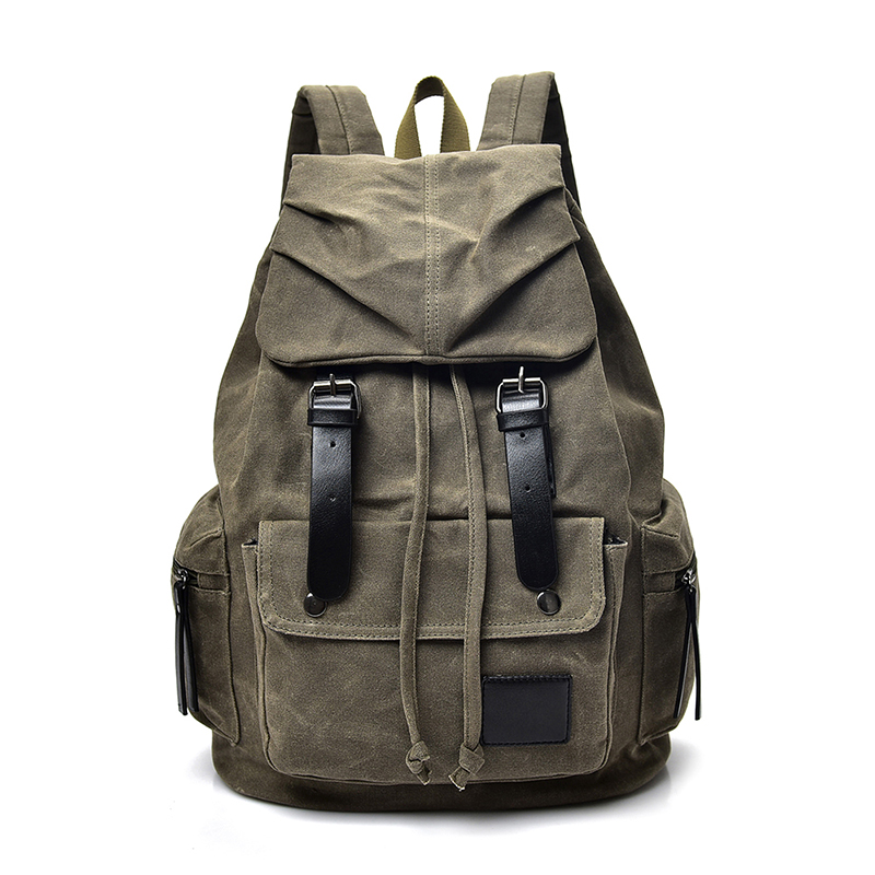 Vintage Canvas Drawstring Travel Backpack Men Fashion Male Laptop Backpack 15 Inch Rucksack Casual School Bags For Boys WD012 canvas backpack women for teenage boys school backpack male