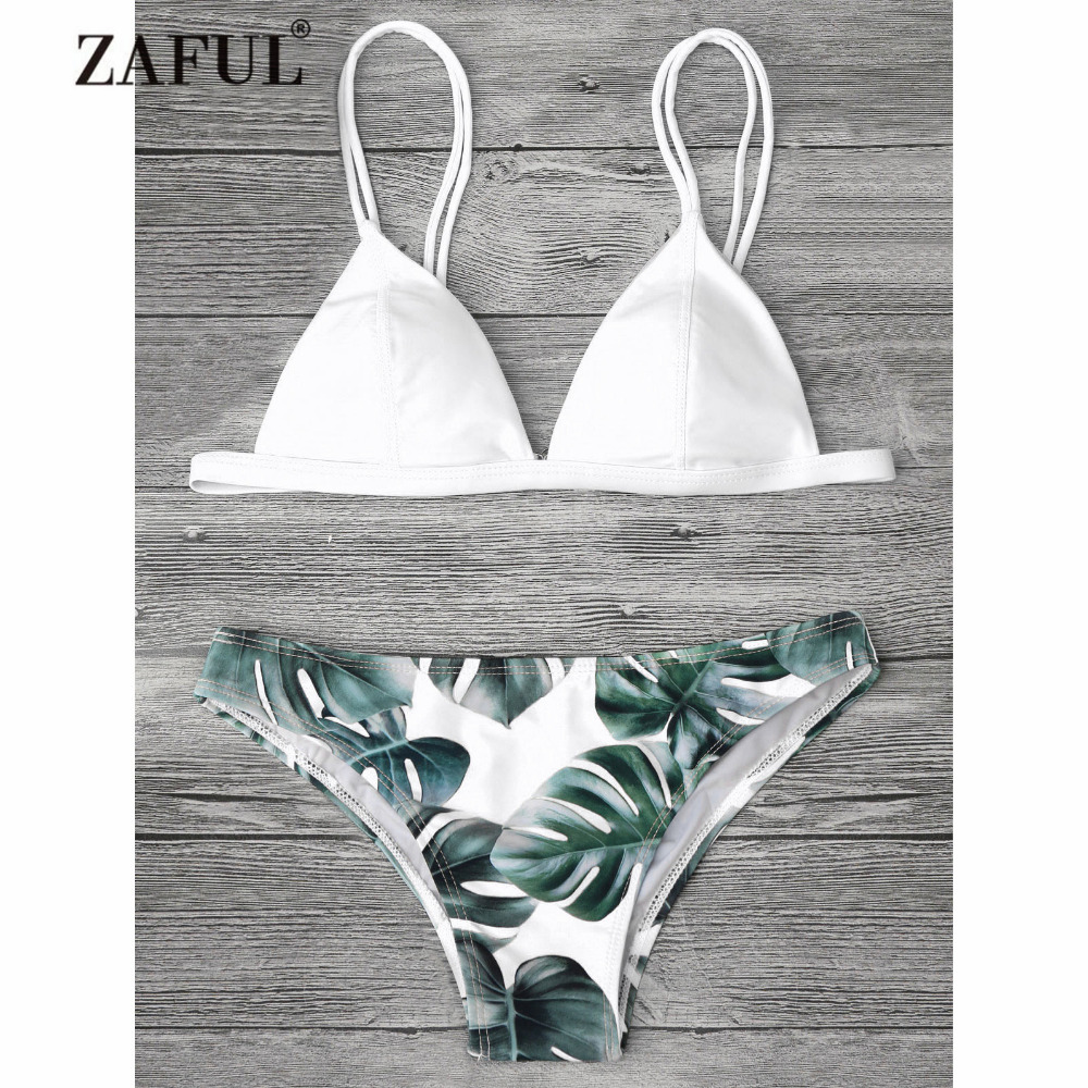 Zaful Bikini New Palm Leaf Print Cami Bikini Women's Swimsuit Spaghetti Straps Leaf SWimwear Summer Beach Sexy Swimming Suit