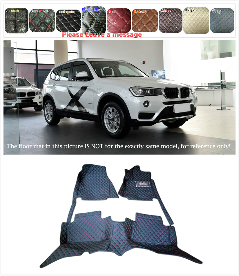 Customs Car Floor mat Leather Waterproof Front & Rear Floor Mats Carpets Pads for BMW X3 F25 2015 2016 5 Seats 1 Set 5 seats 1 set customs car floor mat leather waterproof front