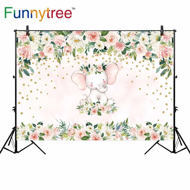 Funnytree backgrounds for photography studio cartoon elephant flowers baby shower party backdrop photocall photobooth printed