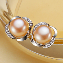 Eternal wedding Women Gift word 925 Sterling silver real Special offer all-match elegant natural Pearl Earrings Sterling Silver