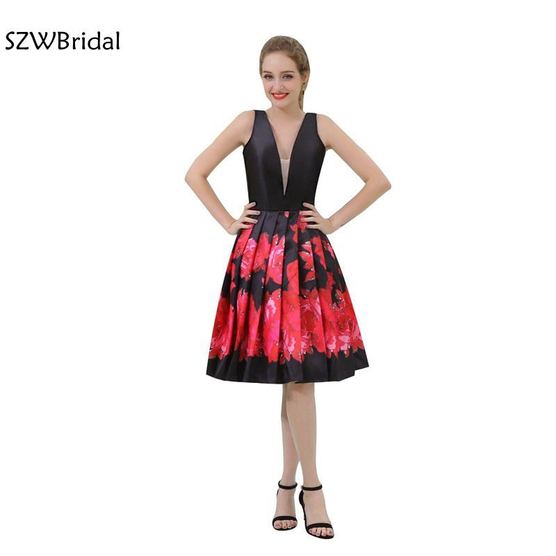 New Arrival In Stock V neck Knee length   Cocktail     dresses   2019 Vestido de festa curto Black Red party   dresses   vestido de festa