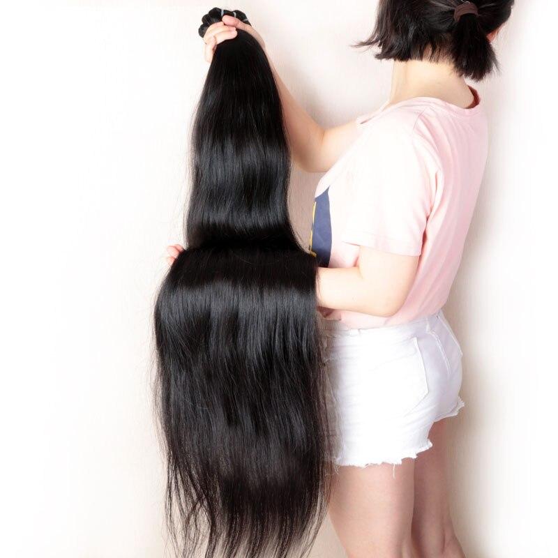 Addbeauty 30 32 34 36 38 40 pulgadas cabello brasileño Remy tejido mechones extensiones de cabello humano recto Color Natural doble dibujado - 4