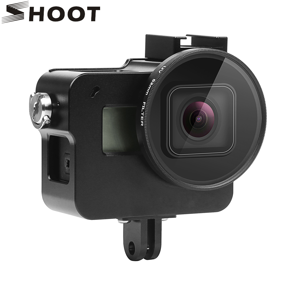 цена на SHOOT CNC Aluminum Alloy Protective Case for GoPro Hero 5 Black Camera with 52mm UV Lens Mount for Go Pro Hero 5 Accessories
