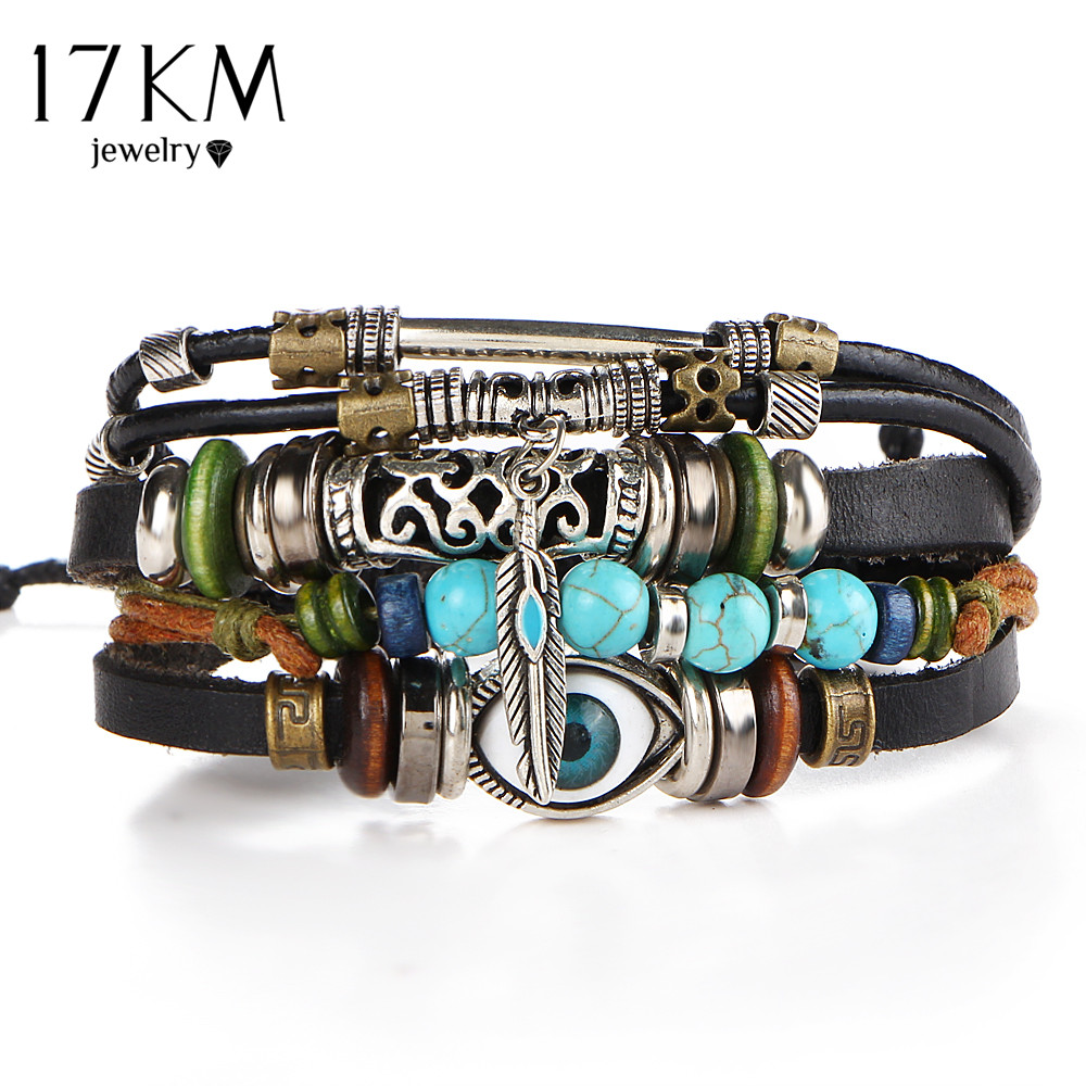17km Punk Design Turkish Evil Eye Bracelets For Women Men Wristband Female  Owl Leather Bracelet Ethnic