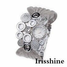 Irisshine i069 dame MS Femmes de Mode Durable relogio Bracelet Montre De Luxe Diamant Miroir Horloge À Quartz femmes montre en gros
