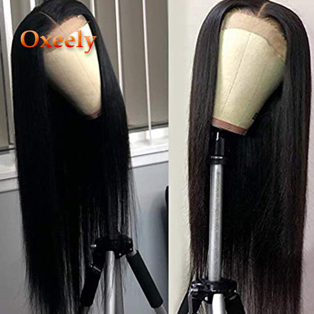 Oxeely Lace Wigs Straight-Hair Black-Color Synthetic Long with 50%Yaki