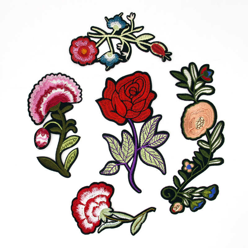1 PZ 15.7X24.5 CM Grande Formato Del Fiore della Rosa Lascia Ricamo Ferro Sul Applique Patch Sew On Patch Mestiere cucito Riparazione Ricamato