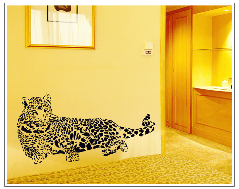 fearless black peopard wall sticker decals wild animal wallpaper ...