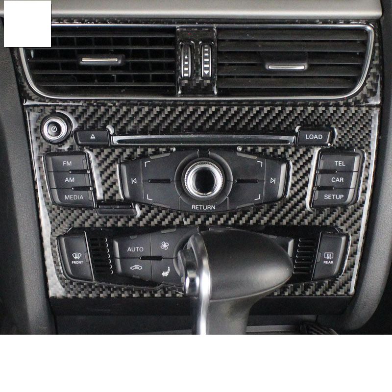lsrtw2017 carbon fiber car center control cd player panel trims for audi a4 A5 2008 2009 2010 2011 2012 2013 2014 2015 2016 B8 image