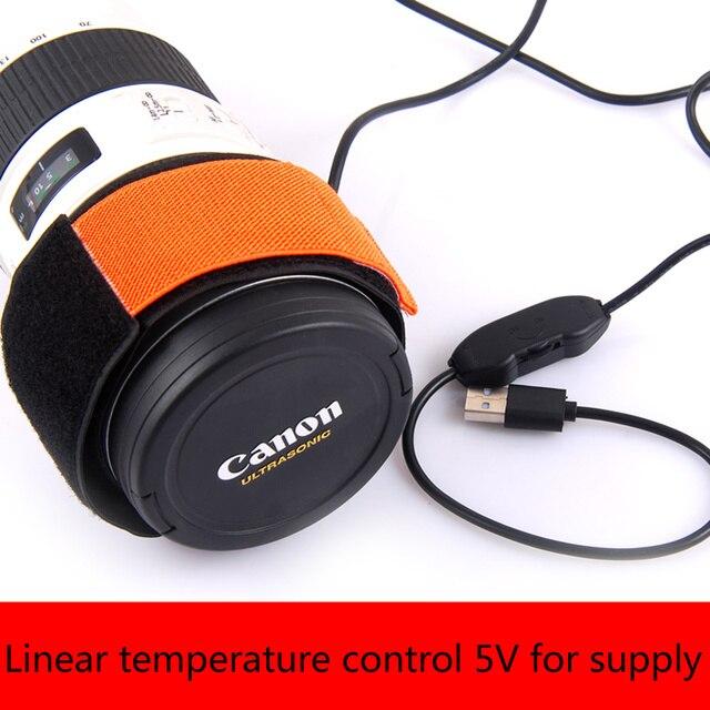Cámara telescópica de 5 V DSLR lente calentador de rocío correa de control de temperatura lineal calentador de rocío