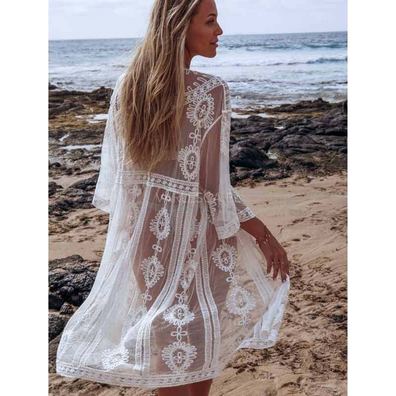 Women Summer Beach Style White Lace Mesh Long Kimono Casual Sheer Bohomian Kimono Cardigan