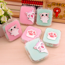 Cartoon Cat Contact Lenses Storage Box Cute Contact lens Case Box Eyes Care Kit Holder Travel Washer Cleaner Container 1pcs colored contact lens case with mirror women man unisex contact lenses box eyes contact lens container lovely travel kit box