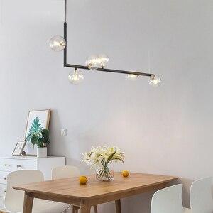 Image 4 - מודרני זכוכית כדור נברשת נורדי אוכל חדר ארוך שולחן תליית אור Creative דקור מנורה ההשעיה עבור בר/חנות