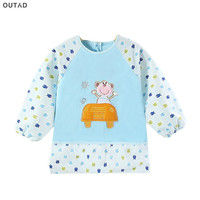OUTAD 33 Colors Cute Baby Bibs Cartoon Animal Dot Printed Long Sleeve O Neck Waterproof Baby