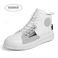 ARANSUE Fashion streetwear high top sneaker mens casual shoes hot sale Comfortable atmosphere four seasons white shoes boot