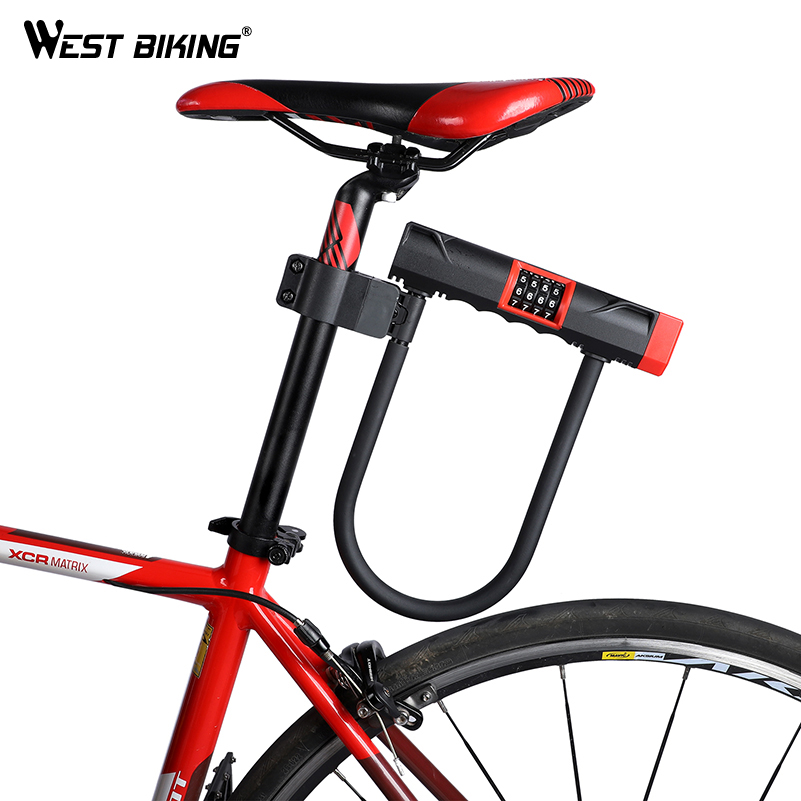 WEST BIKING Upgraded Bicycle Lock Steel U-Lock Cycling Motorcycle Electric Bicycle Anti-theft Locks Safety Password Bike Lock abus newest top quality bordo lite 6050 85 professional cycling bike anti theft foldable lock bicycle cycle biking fold lock