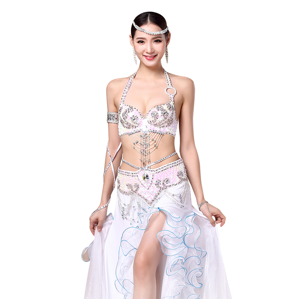 Women Stage Dance Wear 2018 Oriental Dance Sequined Beaded Bra and Belt Bellydance Suit 2pcs Costumes