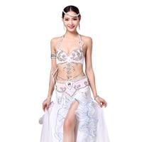 Women Stage Dance Wear 2016 Oriental Dance Sequined Beaded Bra And Belt Bellydance Suit 2pcs Costumes