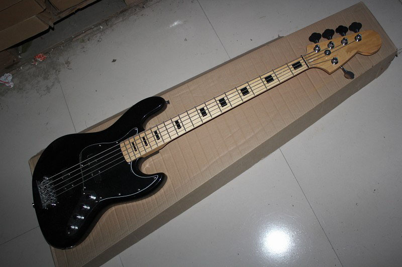 free shipping factory custom shop best price jazz black 5 string bass guitar with 9v active. Black Bedroom Furniture Sets. Home Design Ideas