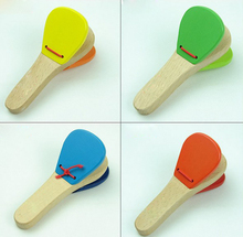 Lovely Kids Wooden Castanet Clapper Handle Musical Instrument Toy For Children Preschool Early Educational Hand Clapper